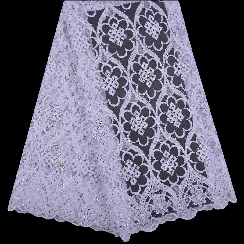 Pure White 2018 African Guipure Cord Lace High Quality Embroidery Stones Cord Lace Guipure Lace For Wedding Party Dress A1257