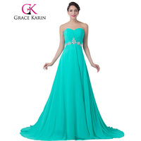 Free Shipping Charming A Line Long Chiffon Turquoise Beadings Formal Evening Dress Beautiful Prom Formal Dresses