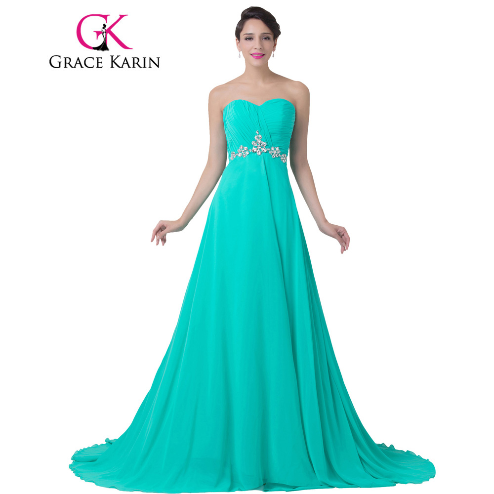 Grace Karin Turquoise Evening Dress Strapless Long Chiffon Floor Length Formal Gown Wedding Party Beading Elegant Evening Gowns