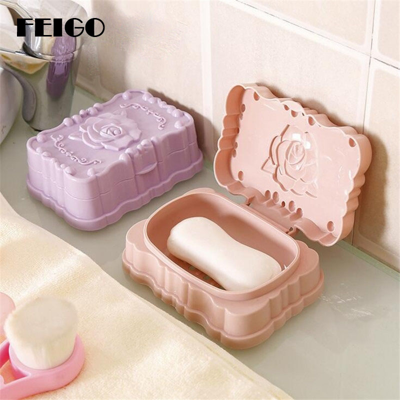 FEIGO Hot Sale Romantic Rose Carved Soap Dish Box Case Holder Wash Dust Proof Shower Home Soap Dish Bathroom Accessories Set F24