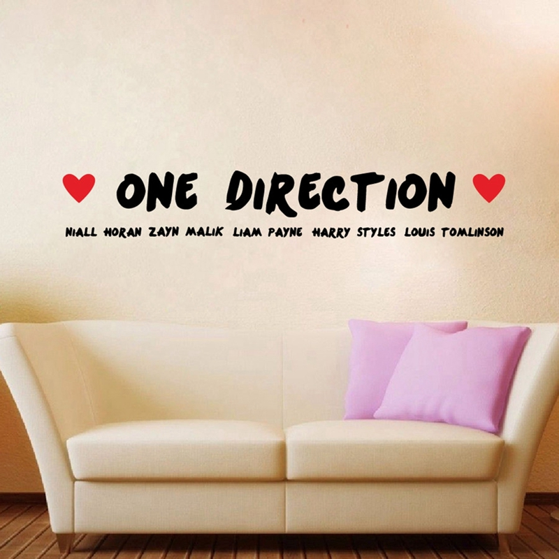 Free Shipping Fashion Large One Direction 1D Wall Stickers