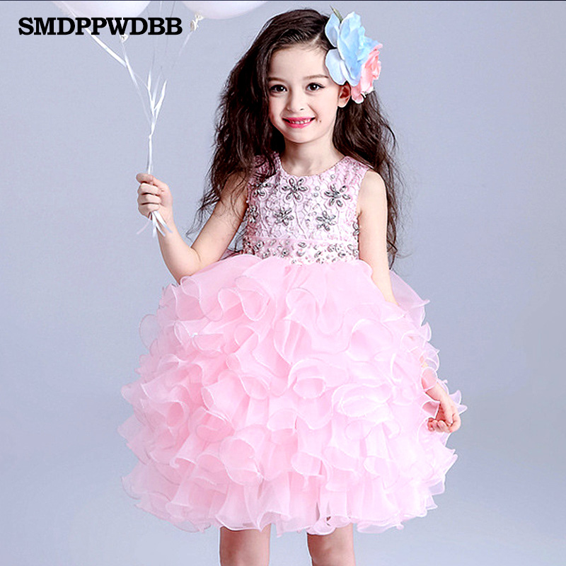SMDPPWDBB Wedding Party Formal Flowers Girl Dress Pageant Dresses Birthday Cummunion Toddler Kids evening gowns Custom Ball Gown ball gown sky blue open back with long train ruffles tiered crystals flower girl dress party birthday evening party pageant gown