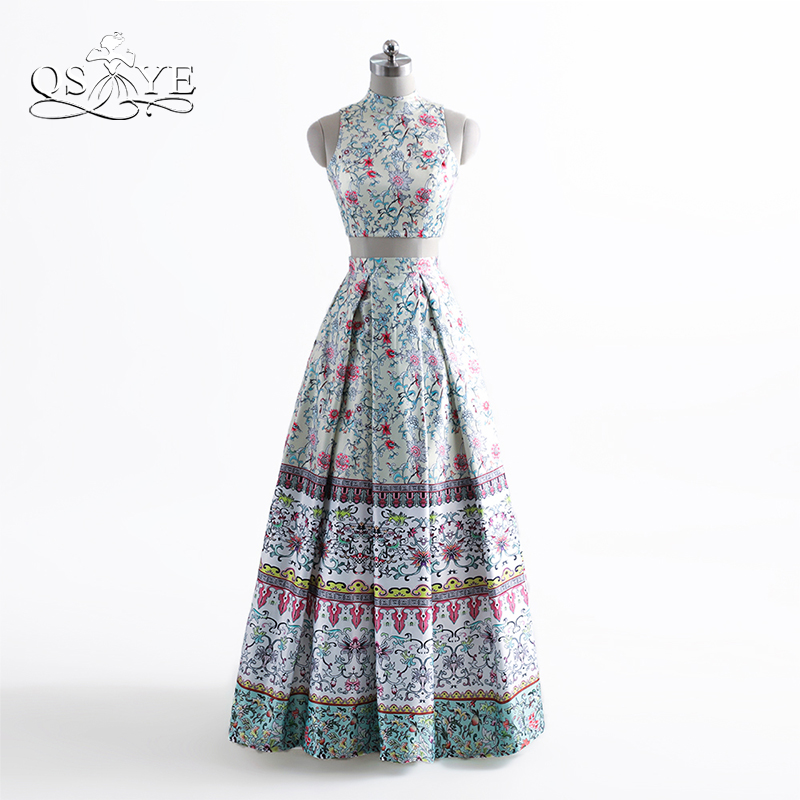 2017 New Fashion Floral Print Two Piece Long Prom Dresses Robe de Soiree Sexy High Neck Embroidery Satin Evening Dress Party