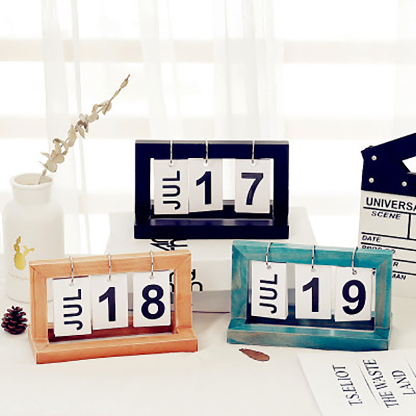 Vintage Wooden Table Calendar Ornaments Office Desktop DIY Flip  DIY Calendar Home/Cafe Shop Decoration Calendar Simple Style