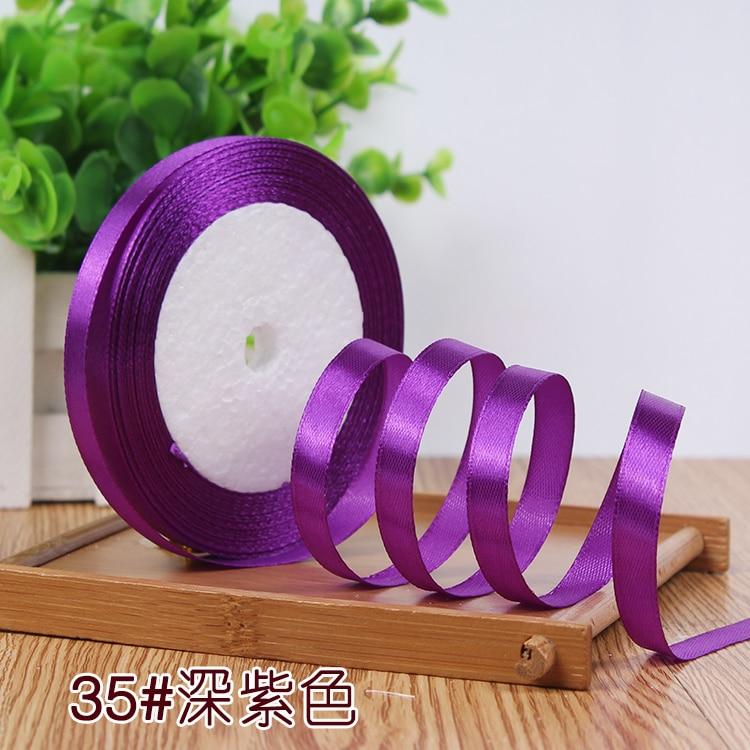 10 мм, 25 ярдов, односторонняя шелковая сатиновая лента, дешевая декоративная подарочная упаковка, Свадебные Рождественские ремесла, белые, розовые, красные, черные ленты - Цвет: Dark Purple