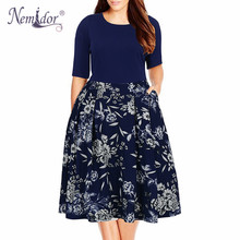 Nemidor 2019 Women Vintage O-neck Half Sleeve Print A-line Dress Plus Size 7XL 8XL 9XL Party Swing Casual Dress With Pockets