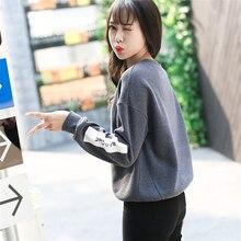 Korean Pop Autumn Harajuku Bird Letter Printed Hoodies Women Loose Round Neck Fleece Tracksuits Pullover Cool Sweatshirt Female