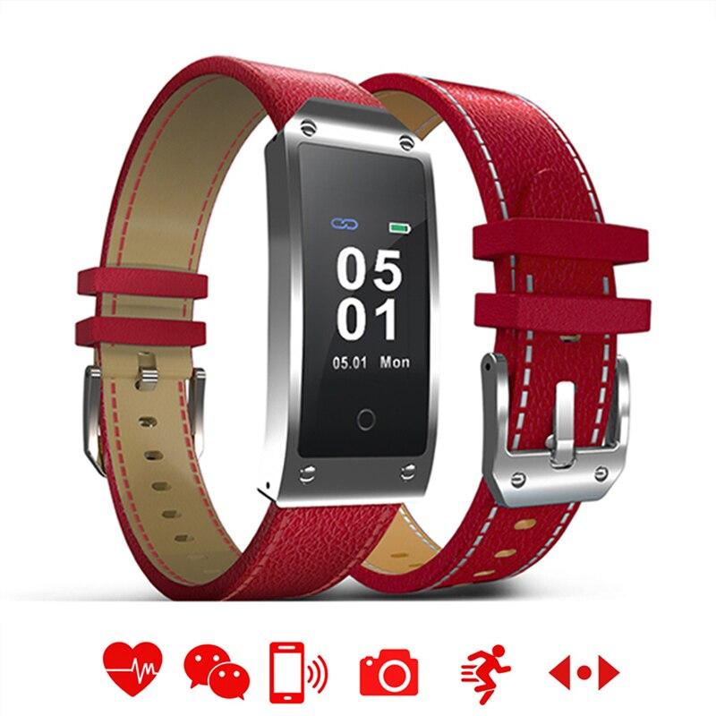 Светодио дный сенсорный для мужчин женщин Смарт часы водостойкий Прямоугольник Bluetooth кожаный Браслет фитнес спортивные для мужчин