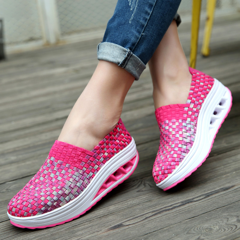Summer breathable wedges increased thick platform women shoes women woven shoes woman casual shoes sneakers tenis femininoSummer breathable wedges increased thick platform women shoes women woven shoes woman casual shoes sneakers tenis feminino