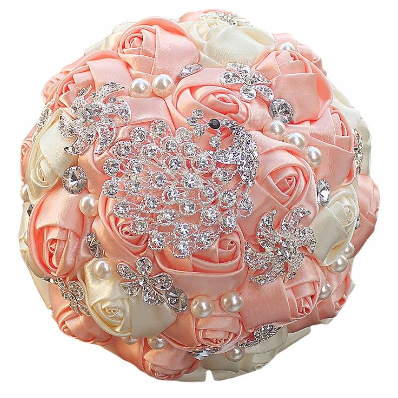 WifeLai-A 1Piece Gorgeous Diamond Peacock Cream Pink Silk Wedding - Bröllopstillbehör - Foto 4