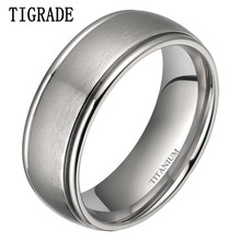 где купить 6mm / 8mm Silver Titanium Dome Brushed Matte Finish Grooved Edge Ring Wedding Band Size 5-14 дешево