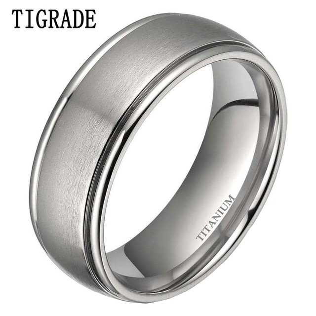 Tigrade Classic 8mm Silver Simple Titanium Ring Men Dome Brushed