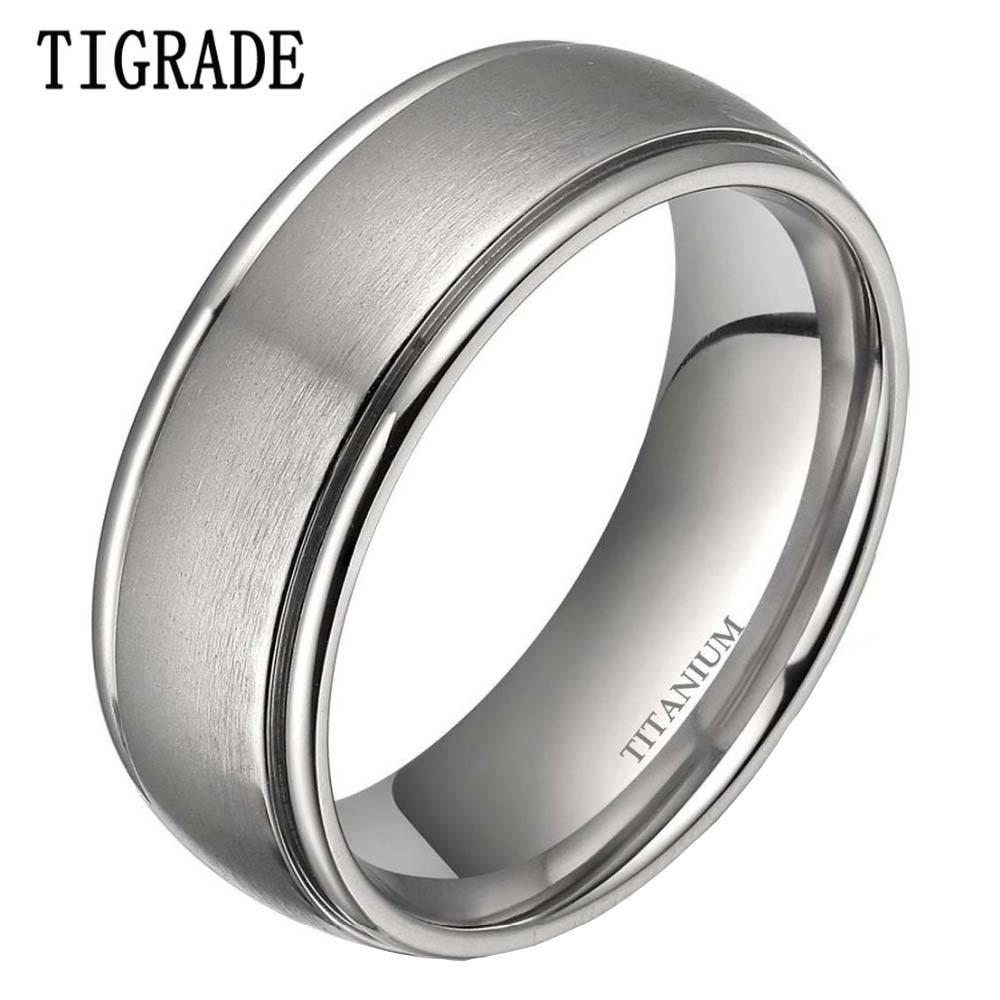 Tigrade Classic 8mm Silver Simple Titanium Ring