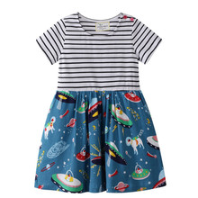 Jumping Meters 2019 Girls Dresses with Space Print Summer Cotton Children Clothes for Party Princess kids