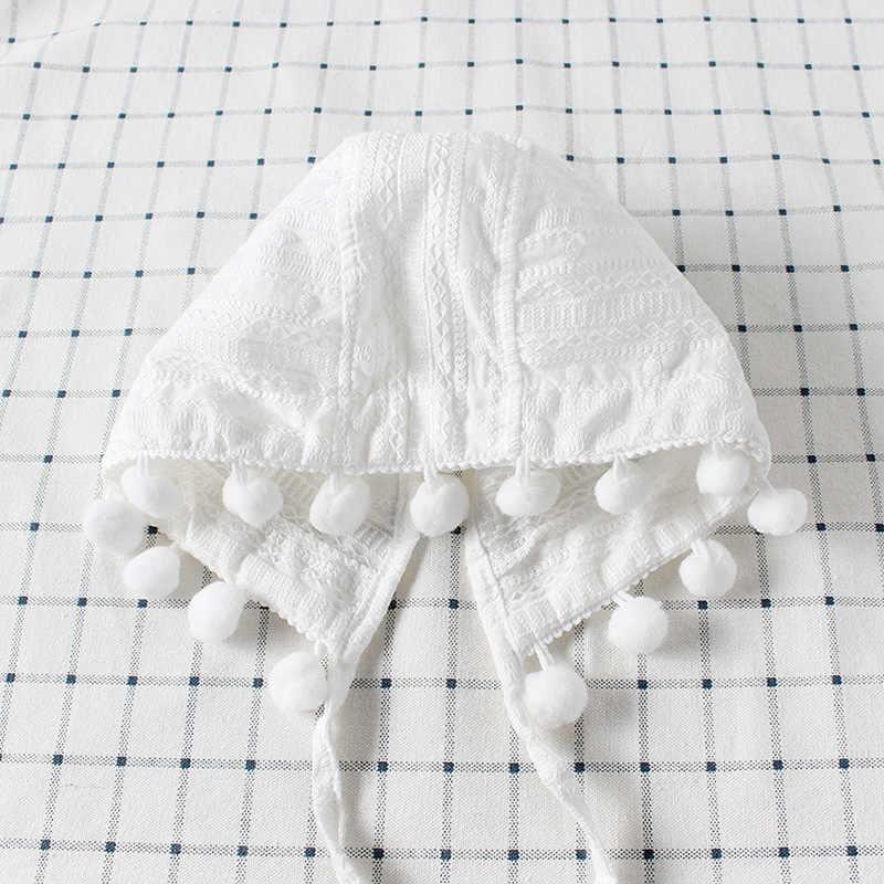 2018 Модная одежда для детей, Детская мода для девочек; комбинезон с Кепки Демисезонный чистый белый жаккард кружевная Костюмы хлопковая одежда с длинными рукавами; комбинезон, верхняя одежда