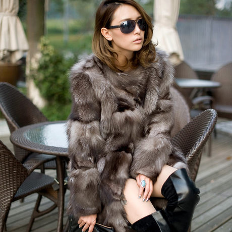 Princess silver fox fur coat women s long quality fox fur overcoat winter genuine fox fur