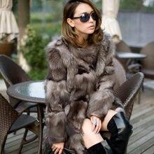 Женское пальто с мехом серебряной лисы, длинное качественное пальто из лисьего меха, зимняя куртка из натурального Лисьего меха, KTF0311