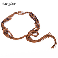 2 Color Bohemian Wind Wax Rope Hand Woven Wood Beads Woven Belts Hand Belt Vintage Fringed