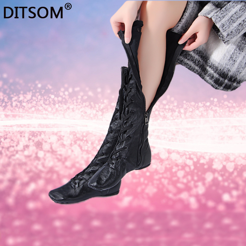Genuine Leather High Dance Boots For Girls Side Zip Ballet Yoga Fitness Jazz Dancing Shoes Students