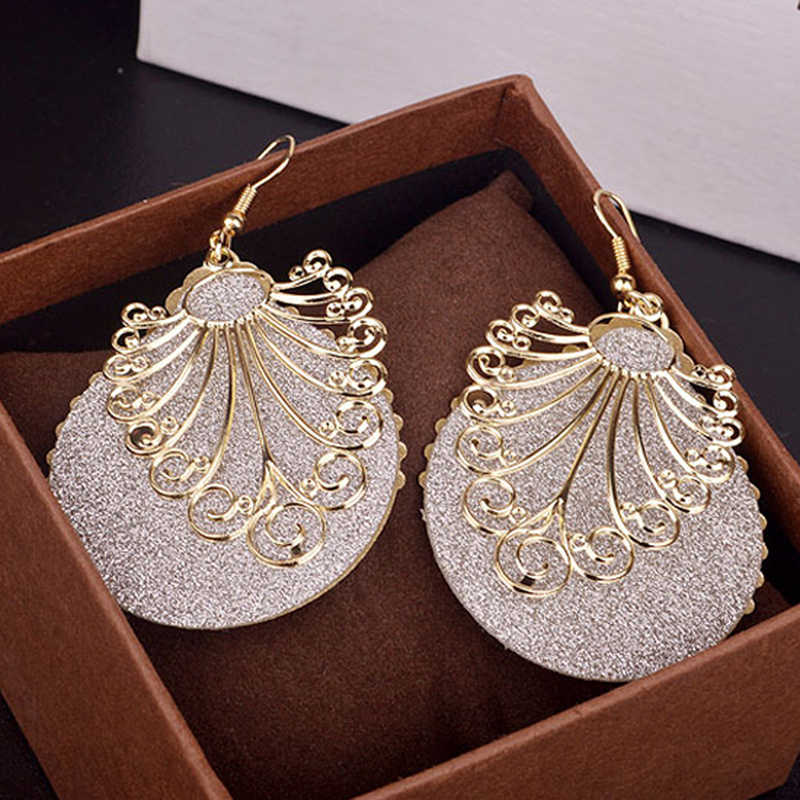 LNRRABC Women Dangle Earring Double Layers Ear Hook Round Hollow Long Earrings For Women Fashion Jewelry Gift Drop Shipping