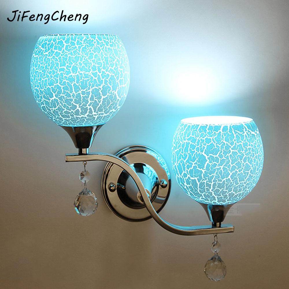 все цены на Modern Minimalist Crystal Wall Light E27 110V-220V LED Double Headed White / Pink / Blue Outdoor Wall Lamps Warranty 3 Years онлайн