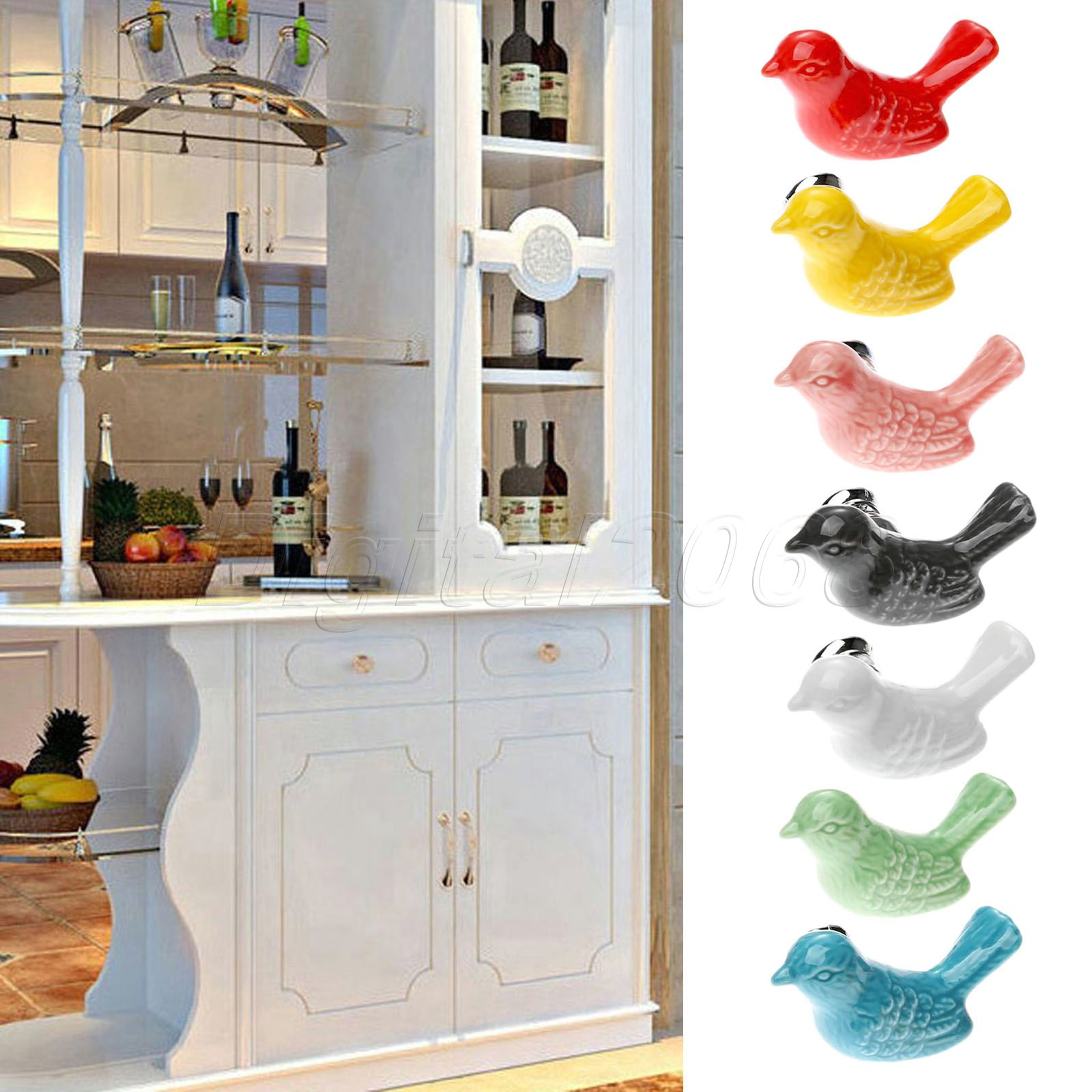 New Hot Ceramic Bird Kitchen Cabinet Cupboard Door Handles Drawer Knobs Wardrobe Pulls Kitchen Furniture Home Pull Handle hot brown handle single hole leather door handles cabinet cupboard drawer pull knobs furniture kitchen accessories 96 160 192mm