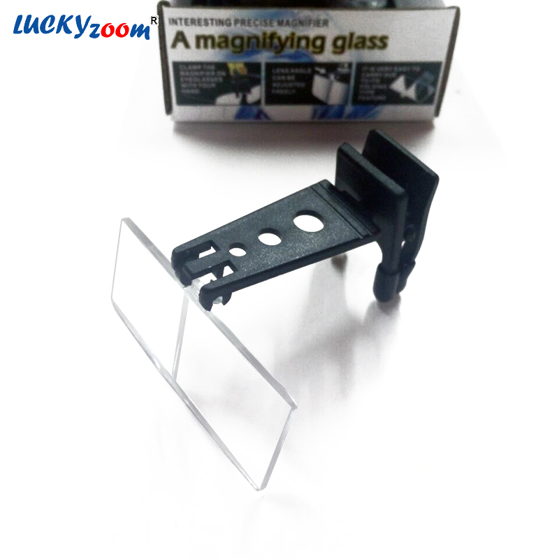 1.5X 2.5X 3.5X Clip-on Brýle typ Folable Lupa čtení Lupa s lupou s 3PCS pryskyřičné čočky Lupa zdarma