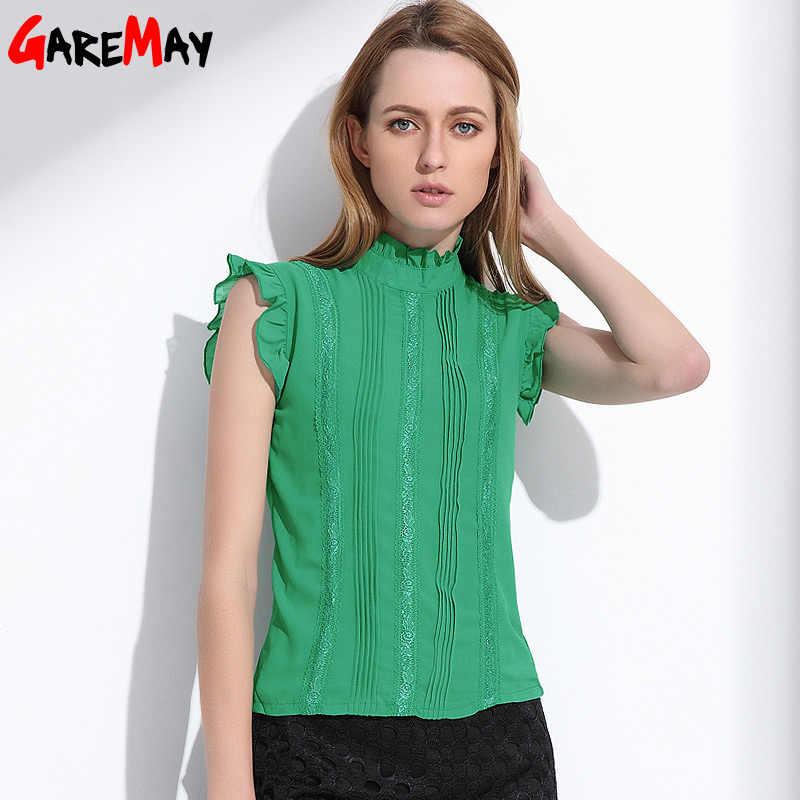 5bab66045a7 Женские Шифоновая блузка без рукавов топы Femme Летние Женские Грибок  воротник блузка зеленый сетки элегантная женская