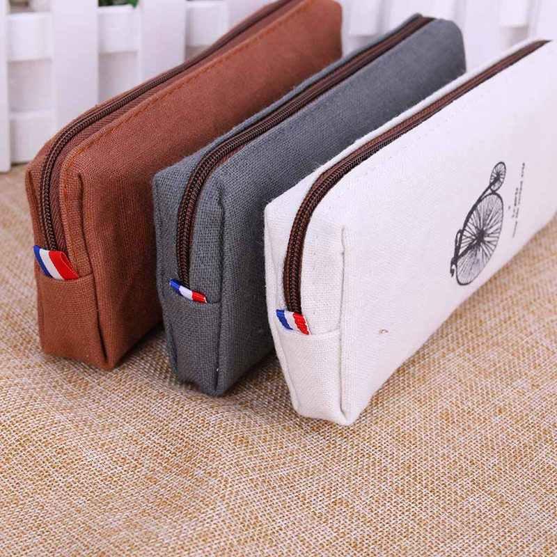 1PC Hot Sale Fashion Cute Vintage Kanvas Paris Pensil Pena Case Kosmetik Rias Koin Kantong Ritsleting Tas Dompet Tas