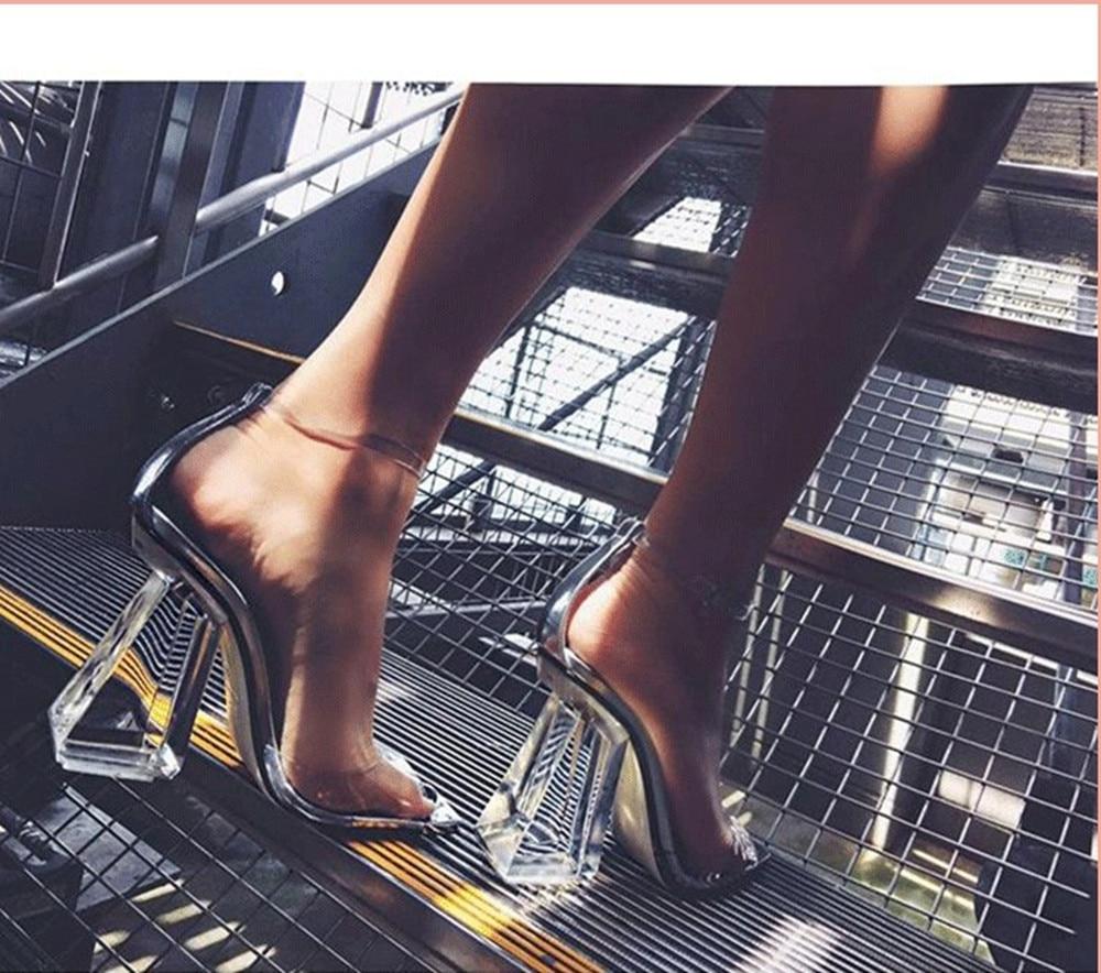 Pvc Talons D'été as Conception Picture 2018 Stiletto Femme Sandales As Respirant Clair Sandalia Mules Feminina Transparent Carré Picture Haute Chaussures Marque g0vwYHqv