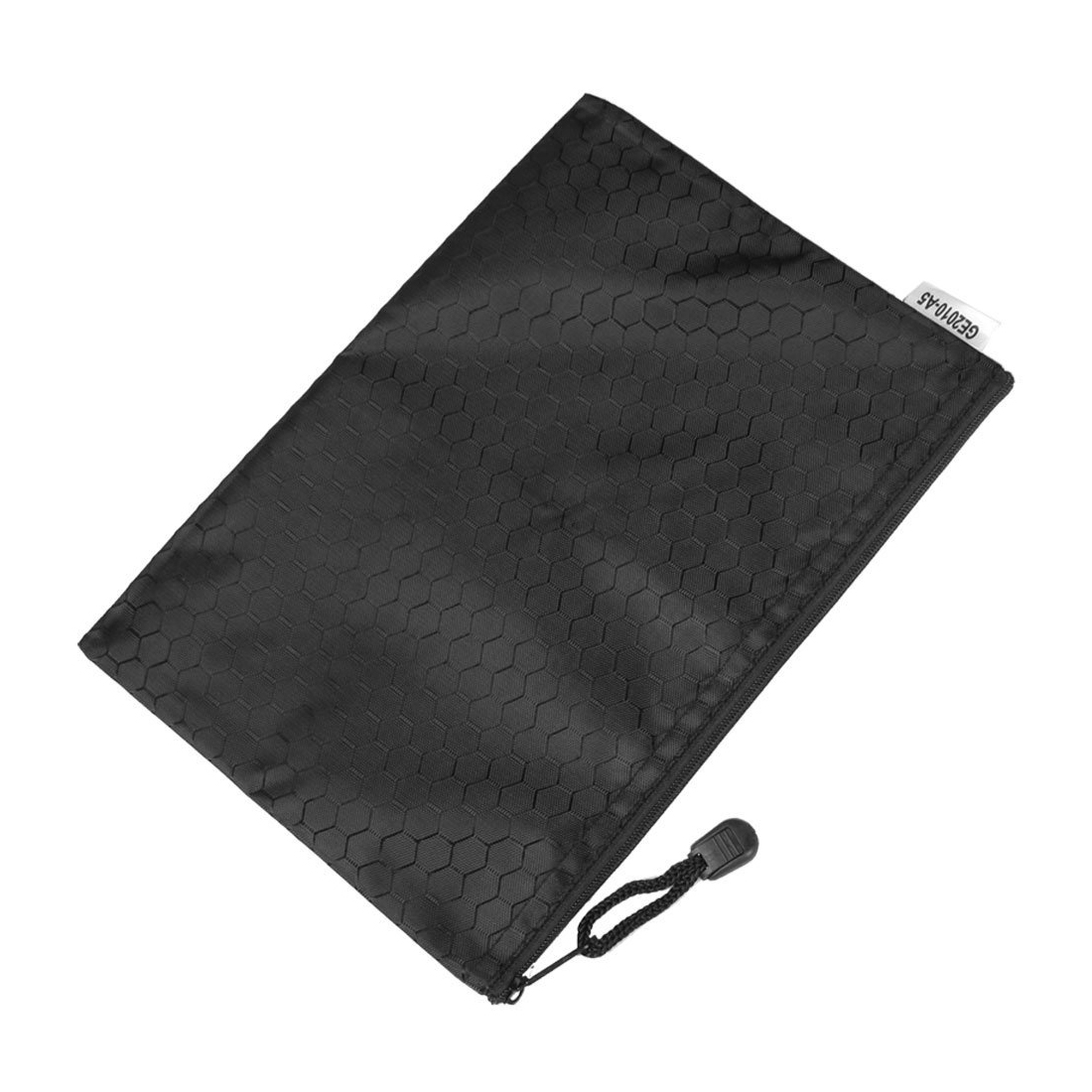 HOT-Black Nylon Hex Pattern Document Bag Zippered A4 Paper Pouch