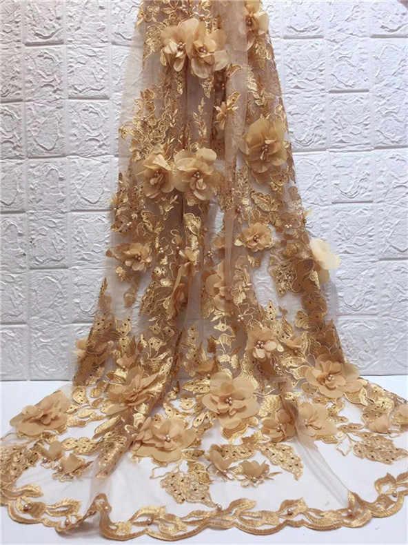 Нигерии кружевной ткани 2019 высокое качество кружева 3D Цветы Тюль Ткань французский много бисера зеленый Золотая кружевная ткань