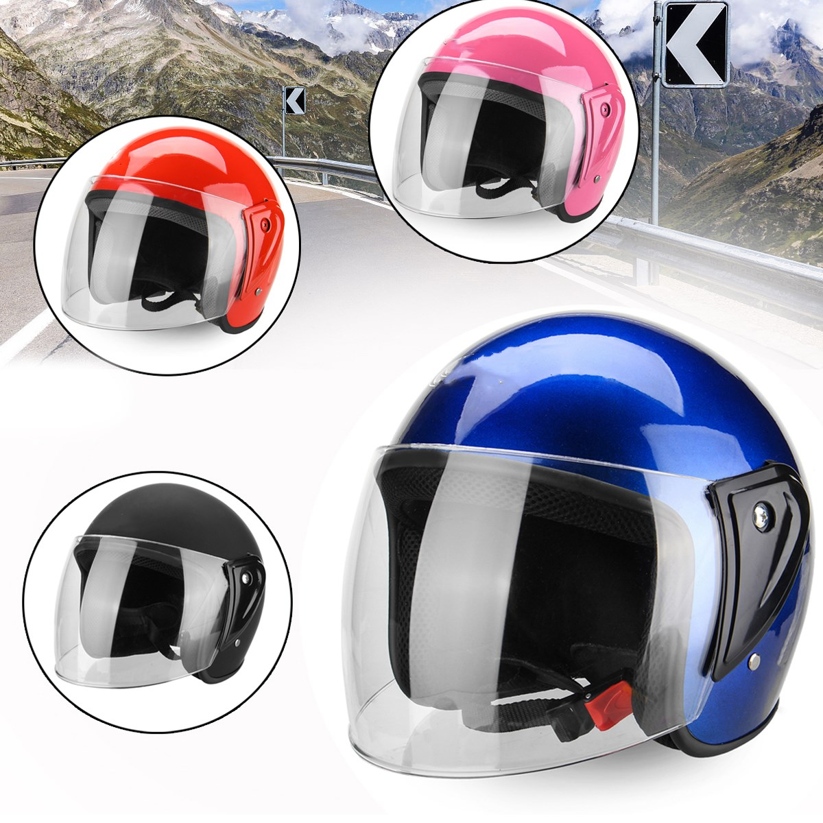 Adjustable Breathable Motorcycle Helmet Vintage Helmets Half Open Face ABS Protective Gear Unisex Motorbike Moto Bike Helmet