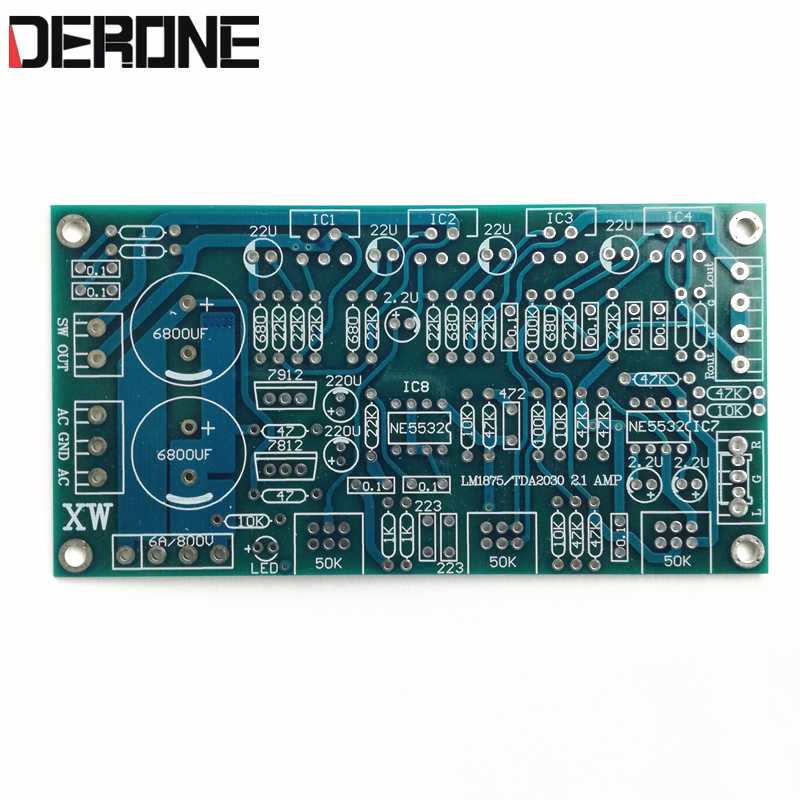 1piece  power  amplifier 2.1 18W*2 +36W*1  LM1875 TDA2030A  PCB AC 12V  PCB Does not contain any components