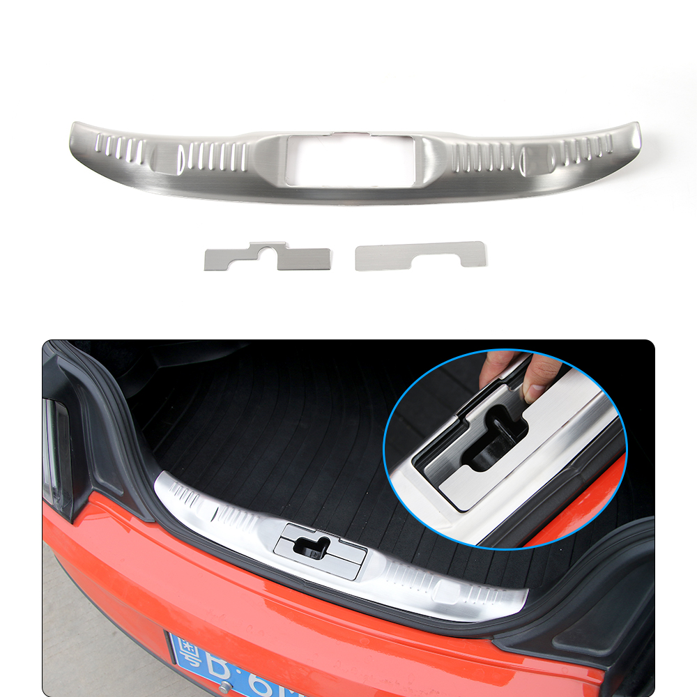 HANGUP Steel Inner Full Set Rear Trunk Board Bumper Guard Decoration Trim Stickers For Ford Mustang 2015 Up Car Styling decoration protective guard bar for car front and rear bumper white 4 pcs