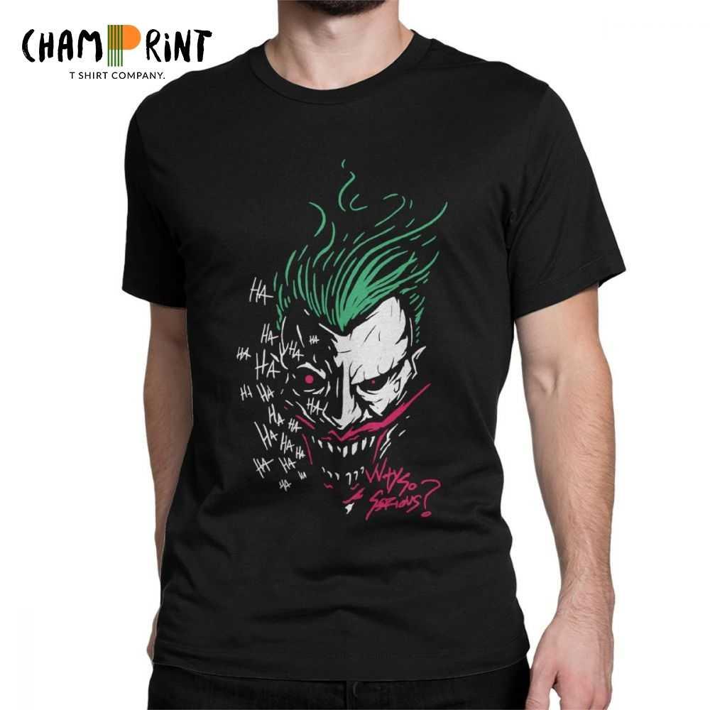 """Джокер из """"Темного рыцаря"""" почему так Тяжелая футболка злодей летучей мыши мужские футболки повседневные 100% хлопок мужская футболка подарок идея Топы"""
