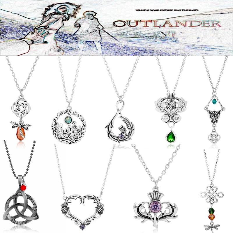 Elegant Choker Necklace Outlander Celtics Knot Dragonfly Scottish thistle flower Pendant Necklaces Women's Fashion Jewelry Gift