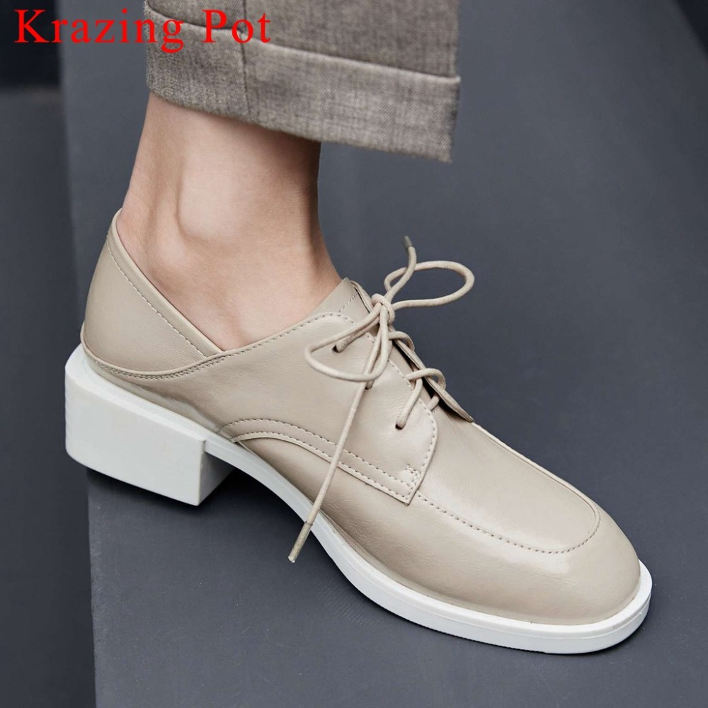 2019 British preppy style gorgeous riband lace up vintage square toe low heels full grain leather