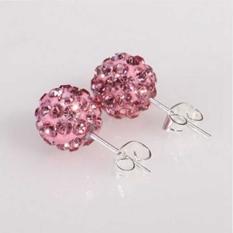 Multicolor 19 Color 10MM Crystal Clay Earrings Micro Disco Ball Fashion Crystal Stud Earring For Women Fashion Jewelry Gift