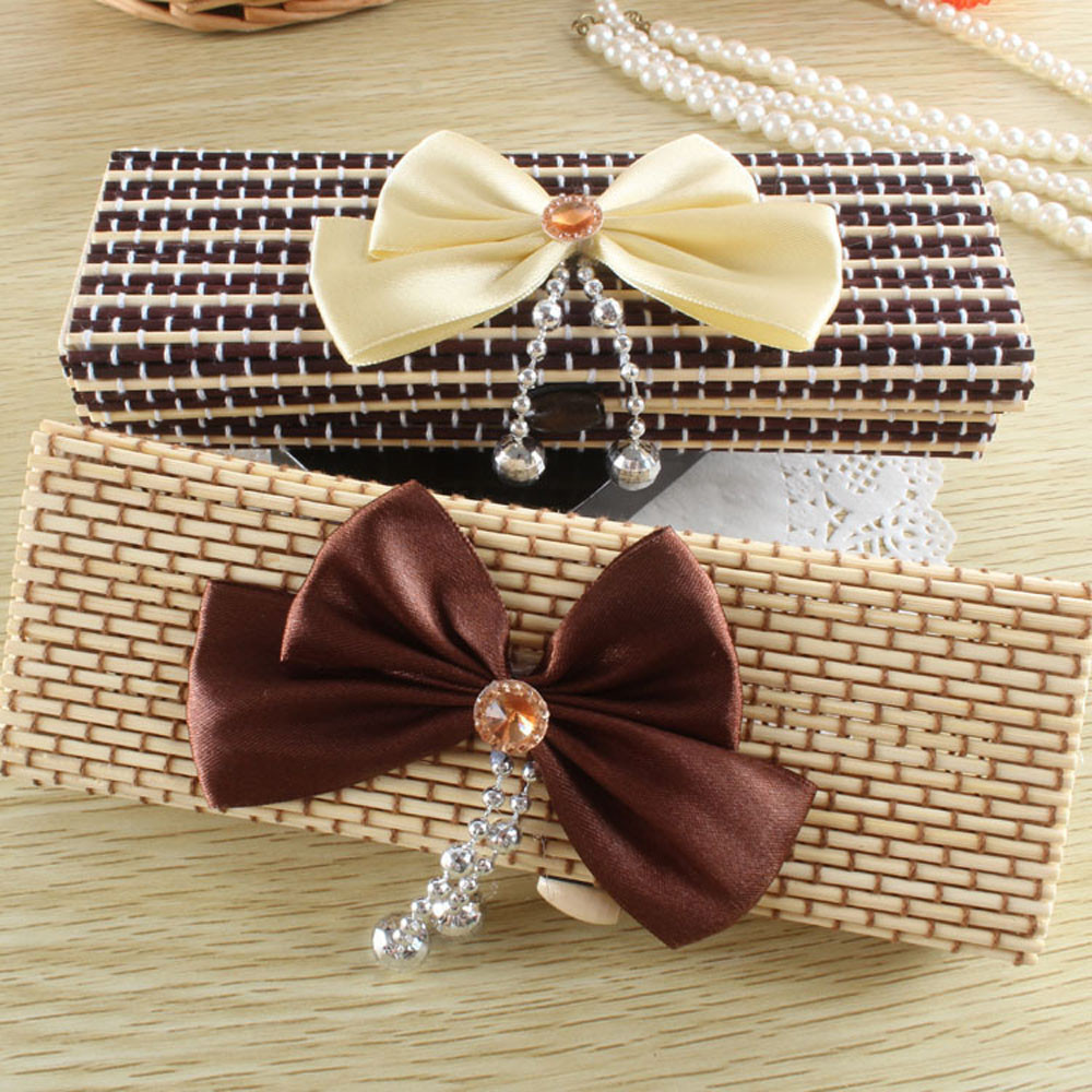 Fashion Large capacity creative bamboo stationery bowknot pencil box box jewelry box drop shipping