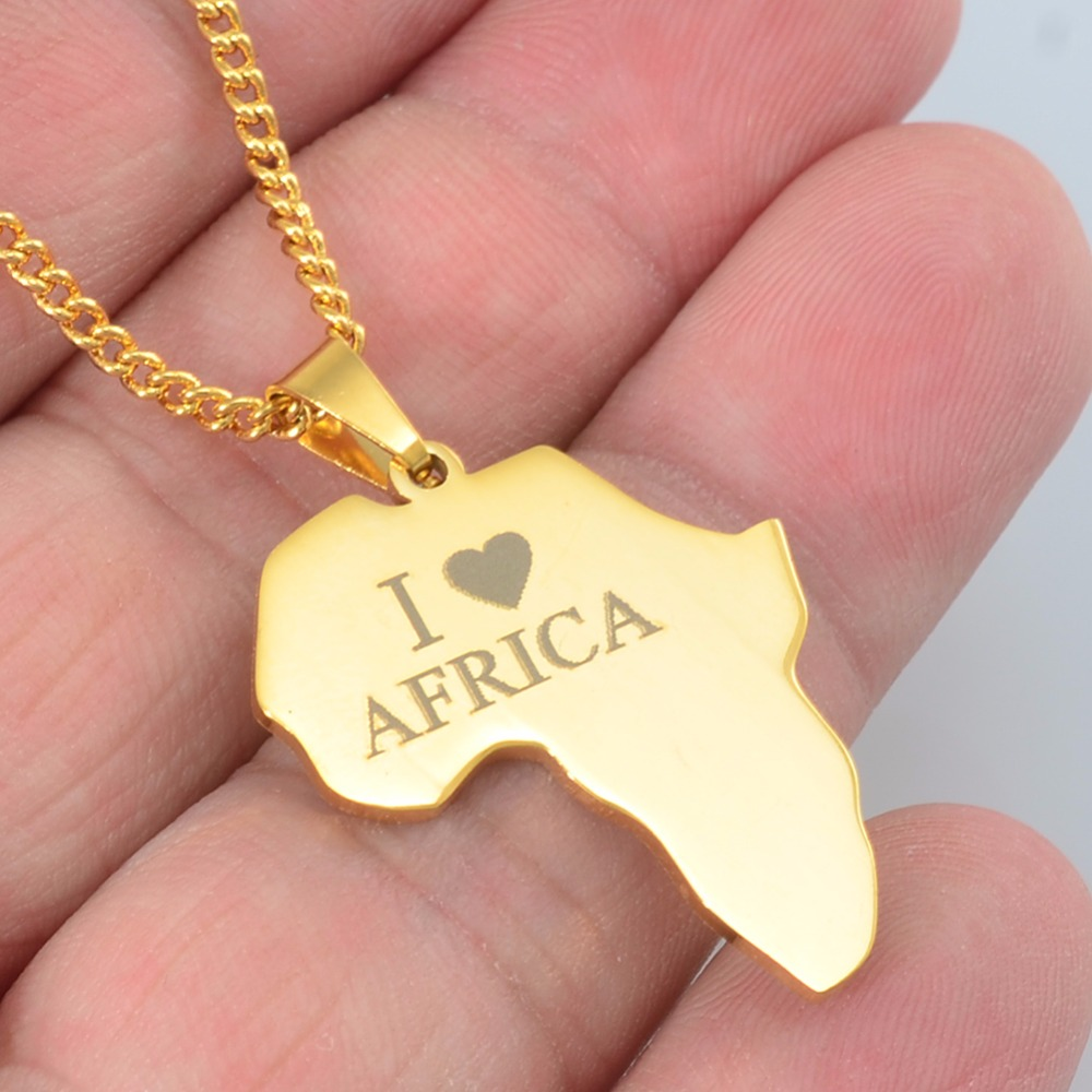 Anniyo Gold Color I LOVE AFRICA Map Pendant Chain Necklaces for Women Girls Stainless Steel African Maps Jewelry Gifts #054921Anniyo Gold Color I LOVE AFRICA Map Pendant Chain Necklaces for Women Girls Stainless Steel African Maps Jewelry Gifts #054921