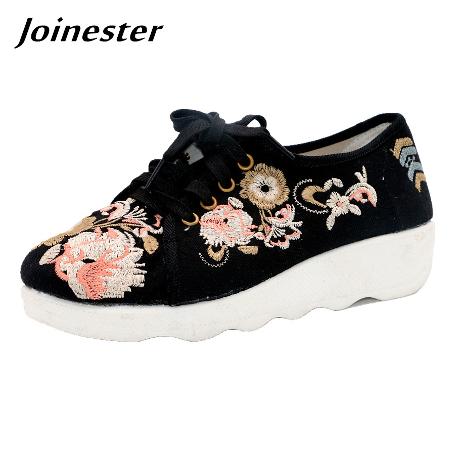 Vintage Floral Embroider Women Wedge Shoes Lace up Ladies Casual Low Heel Shoes Ethnic Black Sneakers for Women Canvas Shoes charming black lace crochet floral fuax crtstal heart pendant anklet for women