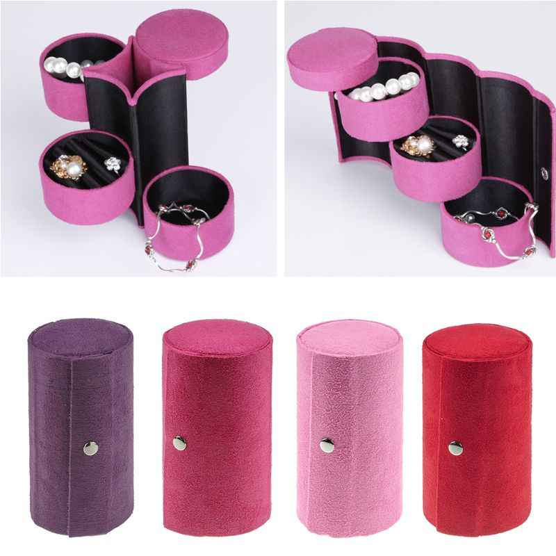 Box Perhiasan Perjalanan 3-Layer Roll-Up Snap Penyimpanan Anting-Anting Gelang Tampilan
