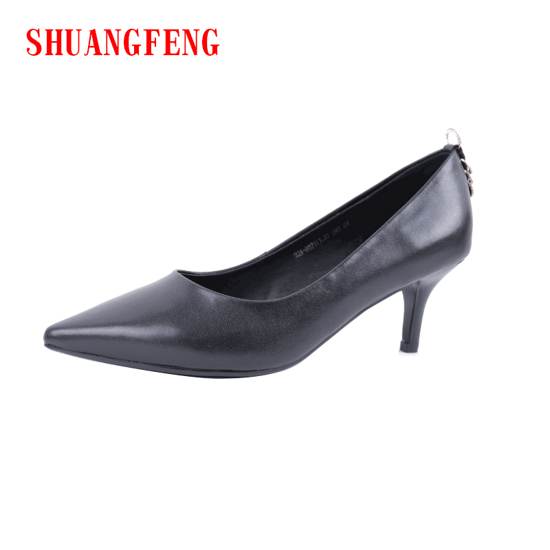 SHUANGFENG 2018 NEW Fashion High Heels Women Pumps Classic Black Thin Heel Genuine Leather Shoes Woman Cow Ladies Shoes szapatos the new puma womens shoes classic high classic star high tongue series white leather laser badminton shoes