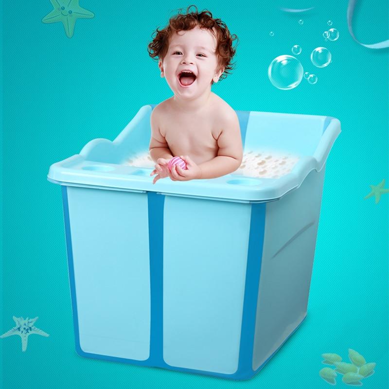 Grande Taille Pliable Bébés Baignoire Avec un Siège Dans la Douche Enfants Baignoire Bébé Filles et Garçon Siège De Bain Barils de bain