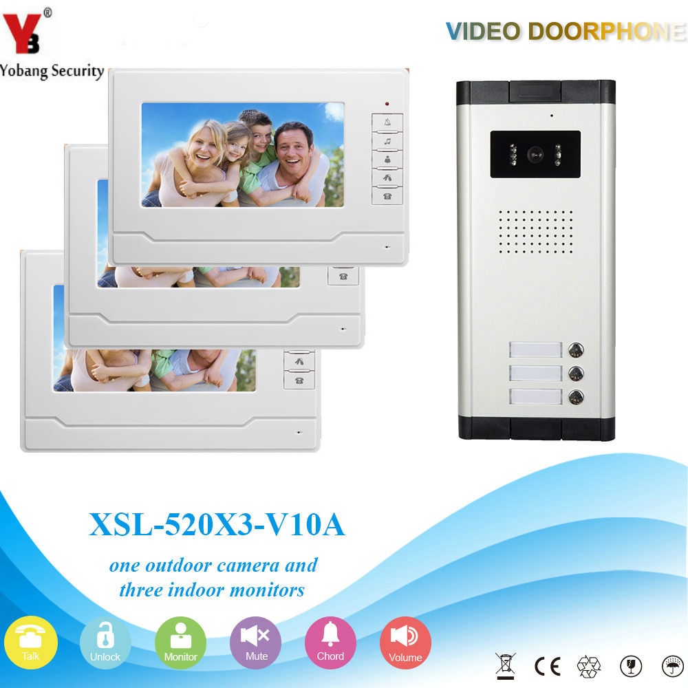YobangSecurity Video Intercom 7Inch Wired Video Door Phone Doorbell Intercom Monitor Camera Bell System For 3 Units Apartment yobangsecurity wifi wireless video door phone doorbell camera system kit video door intercom with 7 inch monitor android ios app
