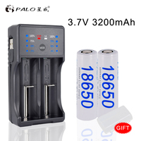 PALO NC572 Battery Charger for AA AAA 2A 3A 18650 26650 with LED display + 2pcs 18650 3200mah lion Battery 1.2V AA Battery