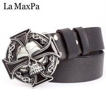 Man skull belt Punk style men belt buckle skull head silver skull Cross skeleton pattern mens genuine leather belt gift for man