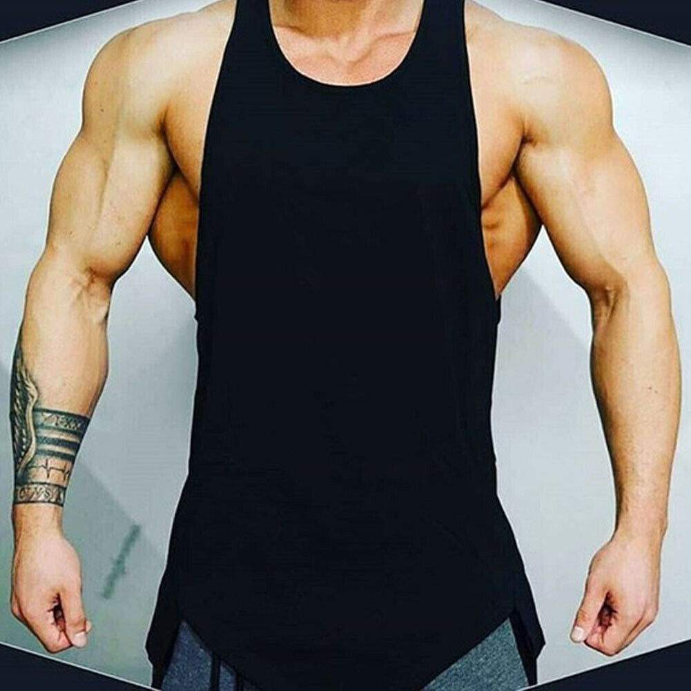 STOCK Men   Tank     Top   Shirt Muscle Sleeveless Tee Bodybuilding Sport Gym Clothing Vest Cotton Soft Solid   Tops   men Sportwear