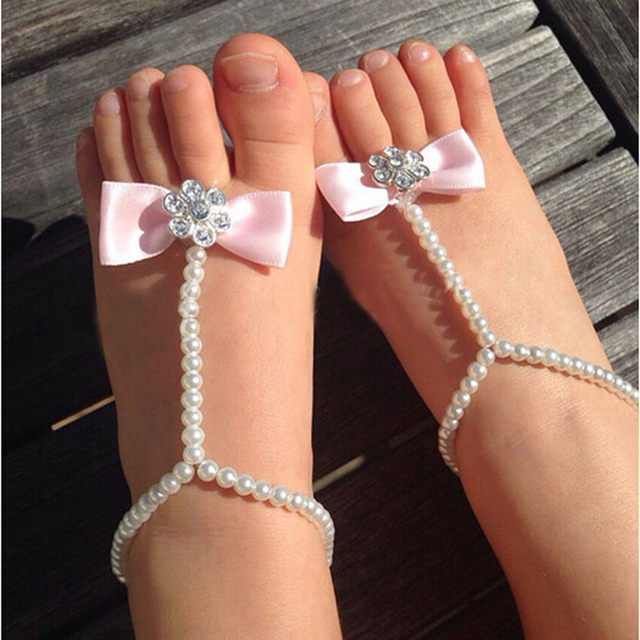 Crystal Pearl Flower Ribbon Bow Chain Foot Bracelet For Kids